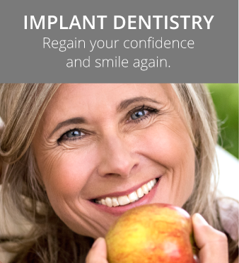 Implant dentistry at Hunsaker Dental woman smiling eating an apple in Salem, OR